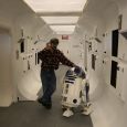 George Lucas on Tantive IV set with R2-D2