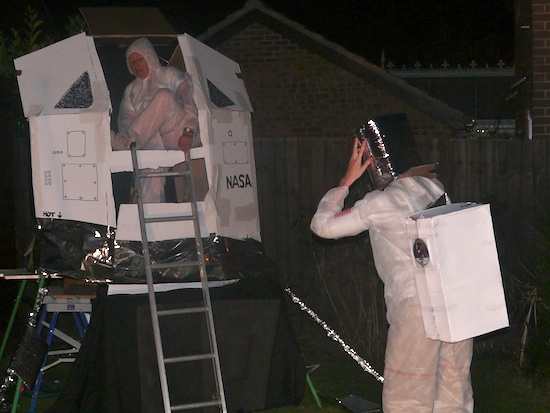 Mum disembarking the lunar module